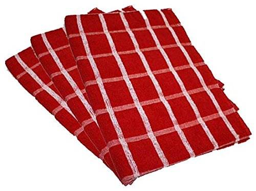 Portland Luxury Waffle Egyptian Tea Towel [3 PACK] 50x70cm Red/White Towelsdirect