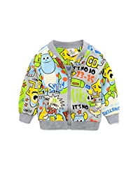 Cartoon Animal Cute Monster Printed Boys Kids Front Zipper Cotton Causal / Sprots Crew Neck Jacket Coat Size 3-4 years Grey