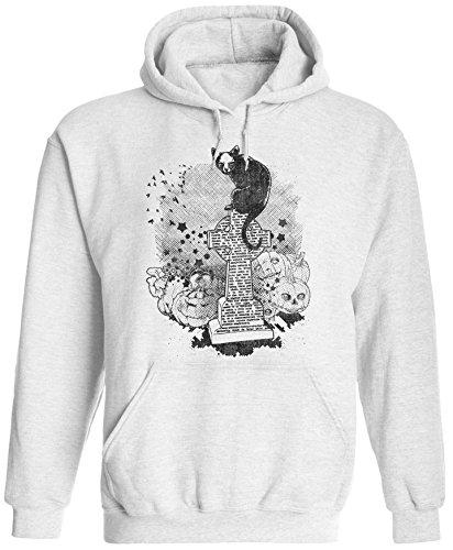 Unisex Mens Halloween Cemetery Cat Pullover Hooded Sweatshirt (White, L) ()