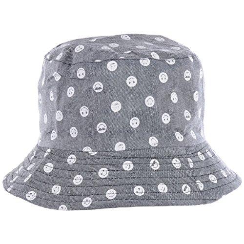 Ladies Bucket Hat - BYOS Fashion Packable Reversible Black Printed Fisherman Bucket Sun Hat, Many Patterns (Emoji Gray)
