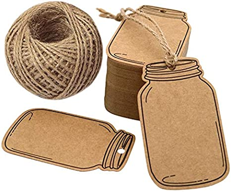 2.9 X 1.7 Vintage Style Mason Jar Shaped Tags,100PCS Brown Kraft Paper Gift Tags with 100 Feet Natural Jute Twine for DIY and Craft Canning Jars and Party Favors