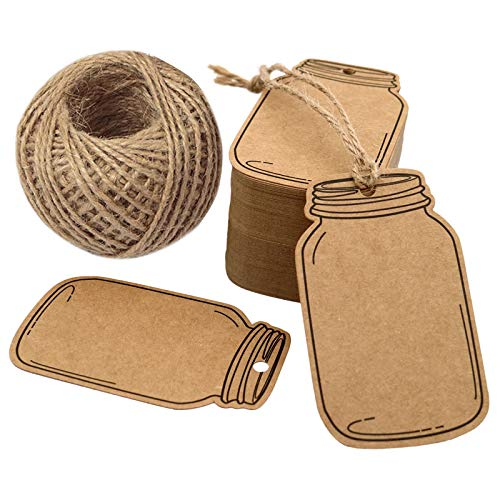 "2.9"" X 1.7"" Vintage Style Mason Jar Shaped Tags,100PCS Brown Kraft Paper Gift Tags with 100 Feet Natural Jute Twine for DIY and Craft, Canning Jars and Party Favors"