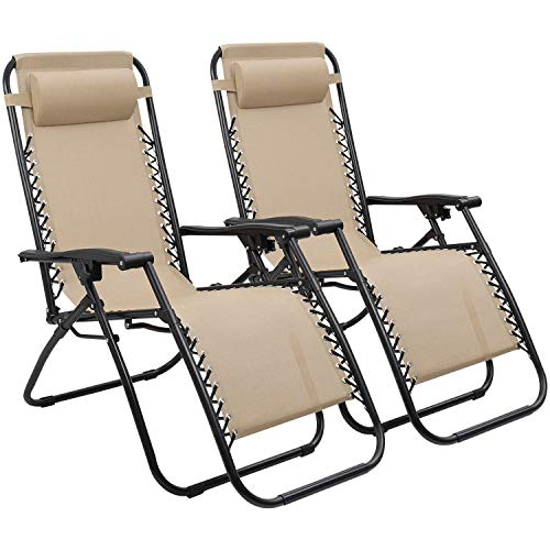 (Devoko Patio Zero Gravity Chair Outdoor Folding Adjustable Reclining Chairs Pool Side Using Lawn Lounge Chair with Pillow Set of 2 (Beige))