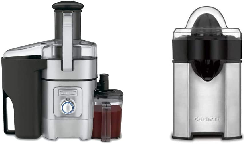 Cuisinart CJE-1000 Die-Cast Juice Extractor & CCJ-500 Pulp Control Citrus Juicer, Brushed Stainless, Black/Stainless, 1 Piece