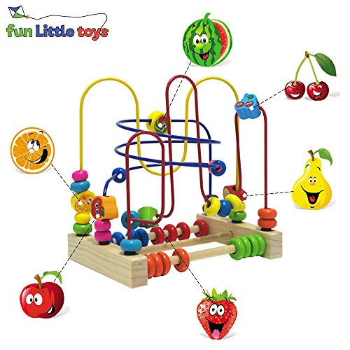 Fun Little Toys Assembled Beads Around Circle Bead Maze Educational Skill Improvement Wood Toys for Kids, Toddlers, Babies Colorful (Fun Toys For Toddlers)