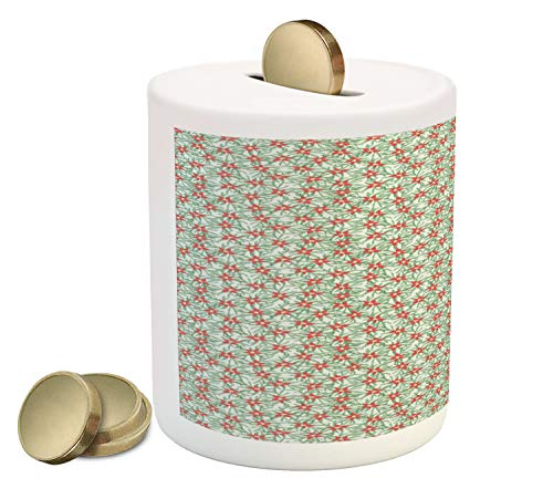 Lunarable Poinsettia Piggy Bank, Pattern with Flowers and Fir Branches, Printed Ceramic Coin Bank Money Box for Cash Saving, Pale Mint Green Peacock Green Dark Coral Khaki
