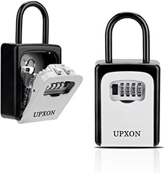 UPXON Large Capacity Key Storage Box with Resettable Code Silver Airbnb and Schools Waterproof Wall Mount Key Box for Home Hotels 4 Digit Combination Lockbox for Spare Keys Key Lock Box