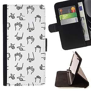For Samsung Galaxy S6 Active G890A Case , Negro Mano Minimalista dibujo dibujos animados- la tarjeta de Crédito Slots PU Funda de cuero Monedero caso cubierta de piel