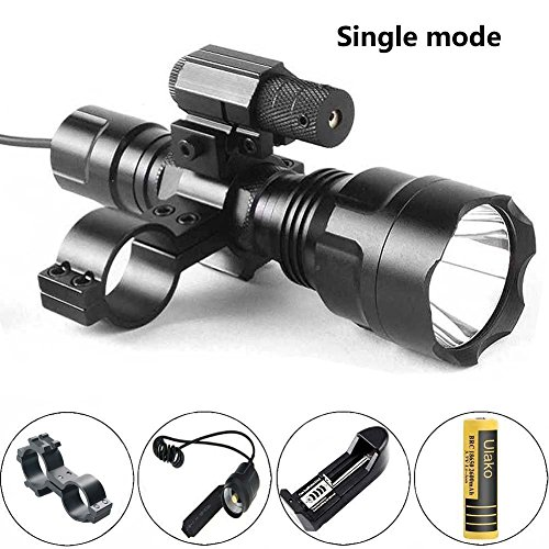 Tactical Flashlights Shotguns (Ulako Red Dot Laser with Single 1 Mode Hunting Tactical T6 Flashlight Torch for Rifle Shotgun AR15 Airgun)