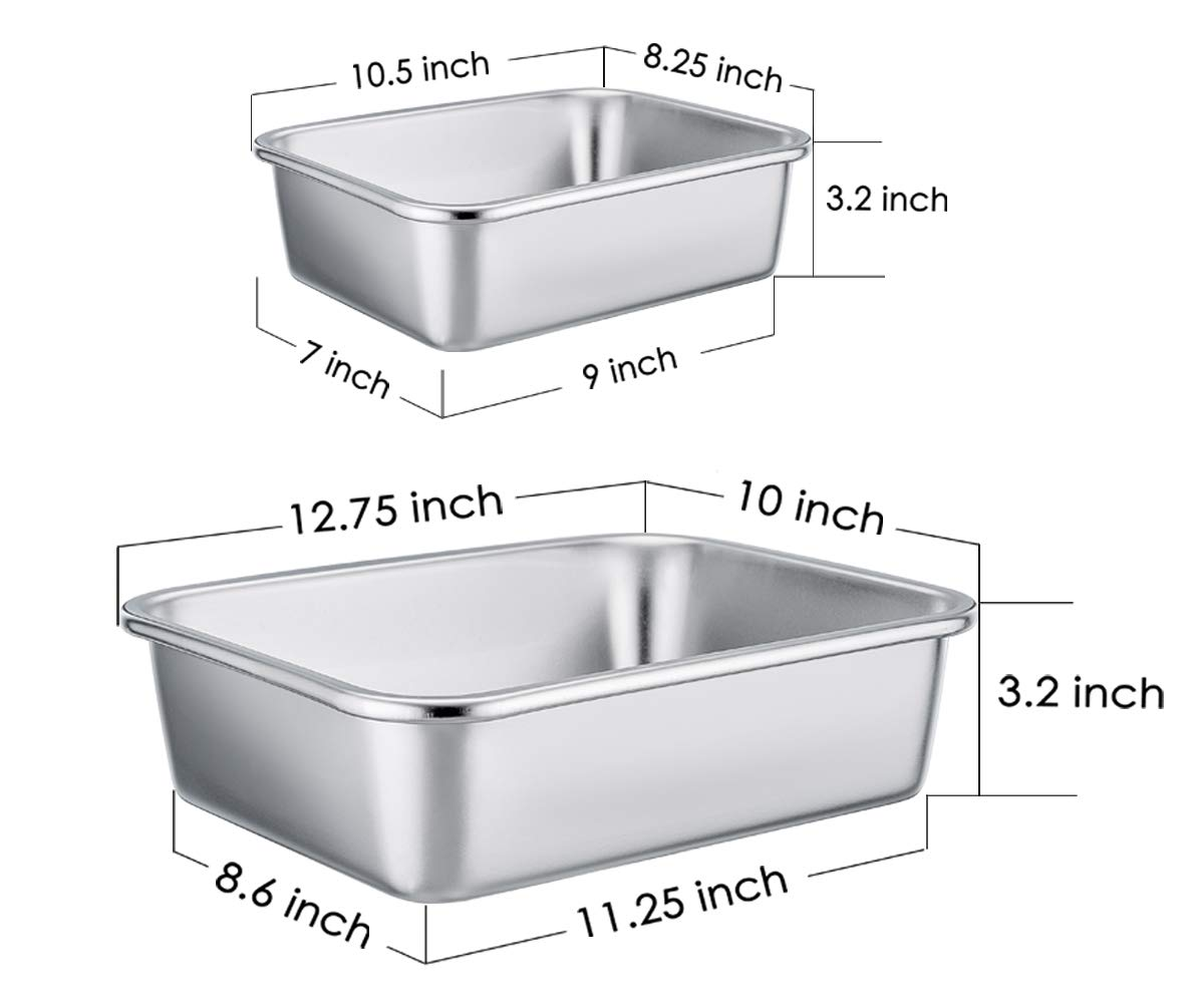 TeamFar Lasagna Pan Set of 2, Brownie Pan Rectangle Cake Pan Stainless Steel, Heavy Duty & Healthy, Easy Clean & Dishwasher safe, Brushed Surface-13 & 10 inch by TeamFar (Image #7)