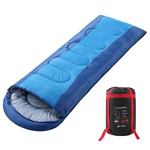 SEMOO Envelope Sleeping Bag - Lightweight Portable, Water Resistant, Comfort with Compression Sack Temp Rating 23F/-5C - Great for 3 Season Traveling,Backpacking, Camping, Hiking ()