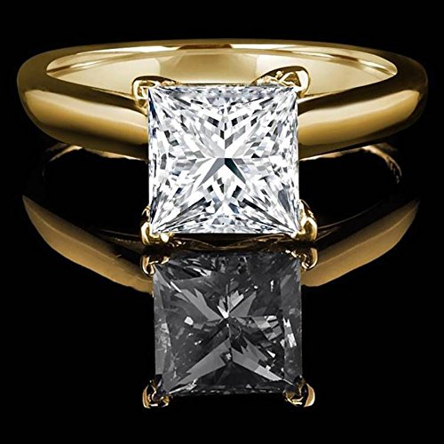 1.0 CT Princess brilliant Cut Simulated Diamond CZ Solitaire Bridal Promise Engagement Wedding Ring 14k Yellow Gold by Clara Pucci (Image #1)