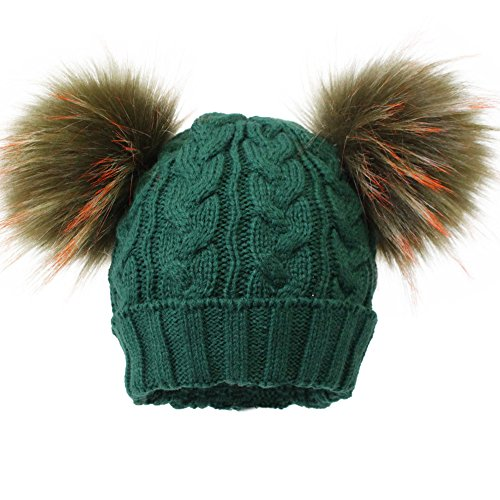 dc220ddff7e JUDY   SAM Kids Winter Hat with Detachable Double Pompoms Faux Fur for 1-3  Years Children