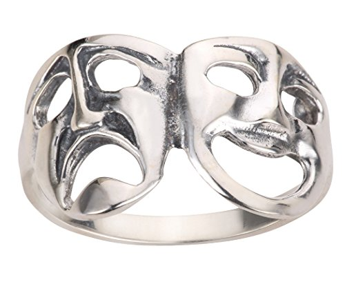 CloseoutWarehouse Sterling Silver Comedy Tragedy Theatre Mask Ring Size 6
