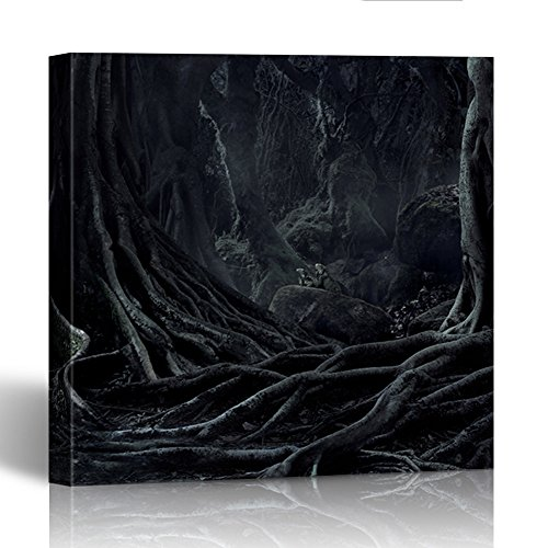 Emvency Painting Wall Art Canvas Print Square 16x16 Inches Spooky Halloween Dead Mysterious Forest Creepy Trees with Twisted Roots and Two Decoration Wooden Frame
