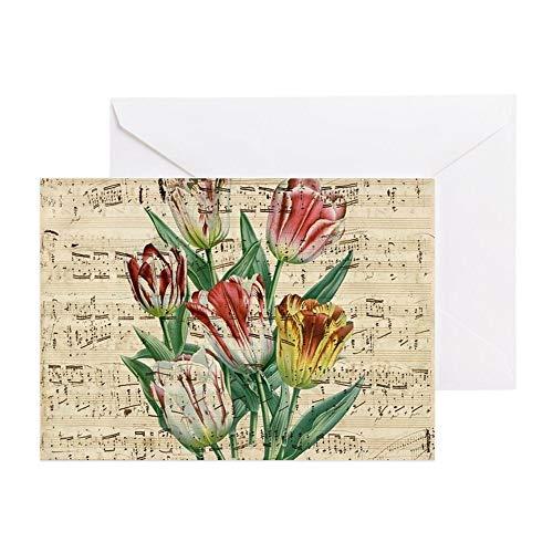 CafePress Tulips Music Greeting Card, Note Card, Birthday Card, Blank Inside Glossy