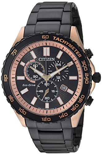 Citizen Men's 'Eco-Drive' Quartz Stainless Steel Casual Watch, Color:Black (Model: AT2125-59E)