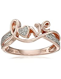 10k Rose Gold Love Diamond Ring (0.05 cttw, I-J Color, I2-I3 Clarity), Size 8