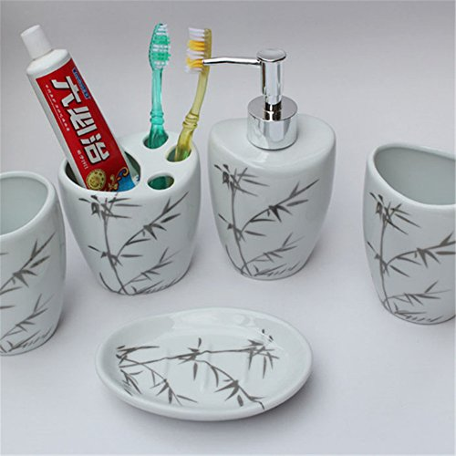 Soap Dish Cowboy (JruF Chinese Style Bamboo Ceramic Bathroom Accessories Set 5 Piece Set Tumbler, Toothbrush Holder And Lotion Bottle, Soap Dish, Gray)