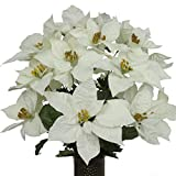 White Poinsettia Mix Artificial Bouquet, featuring the Stay-In-The-Vase Design(c) Flower Holder (LG1041)