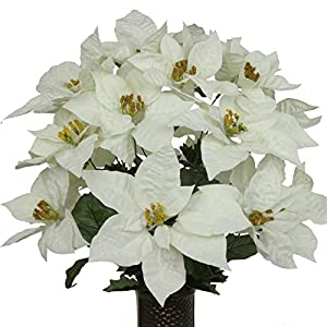 White Poinsettia Mix Artificial Bouquet, featuring the Stay-In-The-Vase Design(c) Flower Holder (LG1041) 3