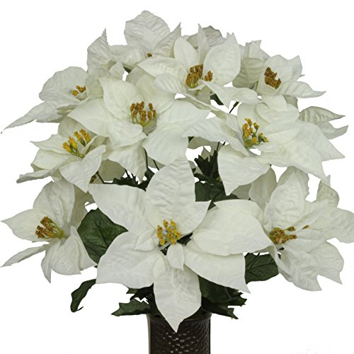 White Poinsettia Mix Artificial Bouquet, featuring the St...