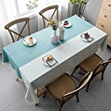Mokani Washable Cotton Linen Two-Color Tablecloth with Tassel, Rectangle Table Cover Great for Kitchen Dining Table Top Buffet Decoration (55 x 78 Inch)