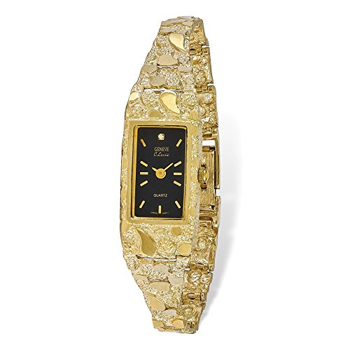 Mia Diamonds 10k Solid Yellow Gold Black 15X31mm Dial Rectangular Face Nugget ()