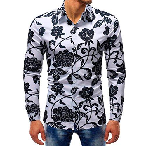 YOcheerful Man Casual Long Sleeve T-Shirt Printed Shirt Sexy Blouse Tees Tops (Multicolor9,3XL) -