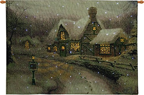 Manual Woodworker Olde Porterfield Gift Shoppe Fiber Optic Banner with Remote, 36x26 inches Art by Thomas Kinkade (Banner Fiber Optic)