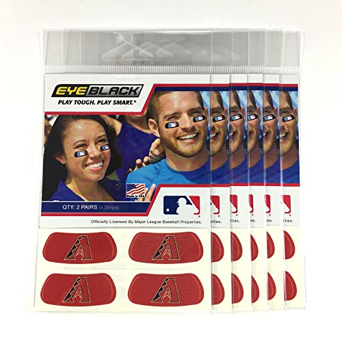 (24 Strips) Eye Black - Arizona Diamondbacks Red MLB Eye Black Anti Glare Strips, Great for Fans & Athletes on Game Day