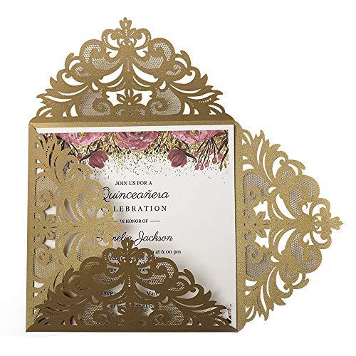 Doris Home Square Gold Laser-Cut Lace Flower Pattern Wedding Invitations Cards, 1 Piece
