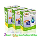 105 Pack 3150 Count with Three Boxes Diaper Refill Bags with Toss and Hassle Free Blue Bags Green Ring,1050 Count Diaper Pail Snap Seal Disposal