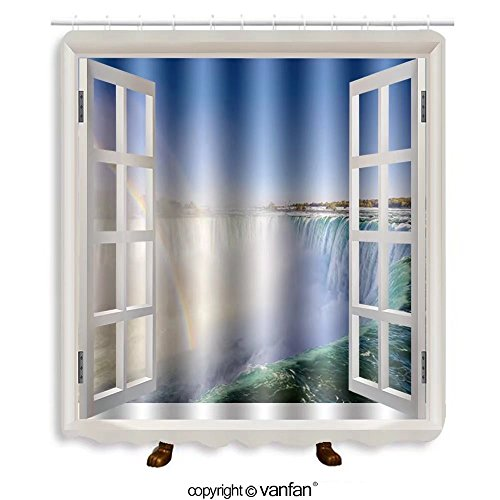 Vanfan designed Windows 125705756 Niagara Falls Landscape and Rainbow Shower Curtains,Waterproof Mildew-Resistant Fabric Shower Curtain For Bathroom Decoration Decor With Shower Hooks