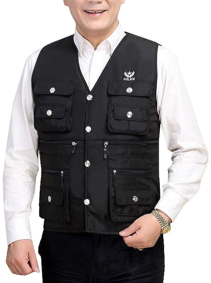 XiaoTianXinMen XTX Mens Fleece Lined Winter Multi Pockets Sleeveless Vest Waistcoat Coat Jacket