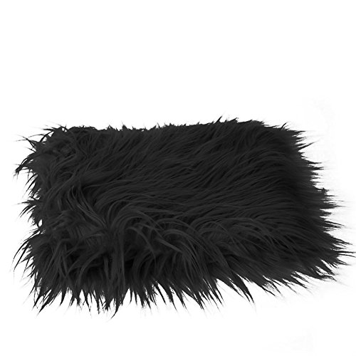 Slaxry Newborn Soft Faux Fur Blanket Photography Props Rug Mat Backdrop for Baby Infant (Black)