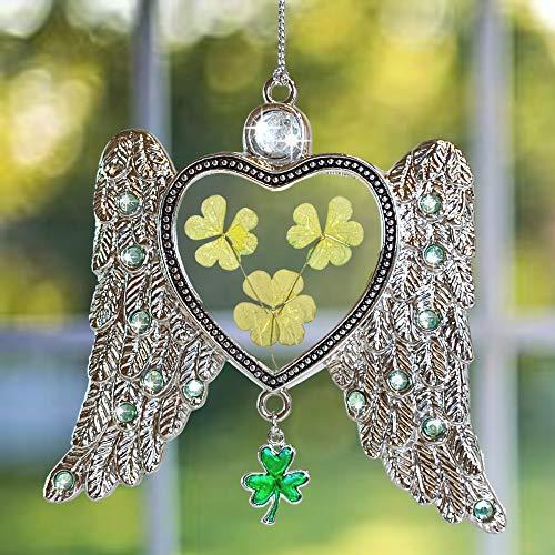 - BANBERRY DESIGNS Irish Angel Suncatcher - Dried Pressed Flower Angel Wings Sun Catcher - Green Shamrocks and Clover Charm for Irish Heritage- St Patrick's Irish Gift