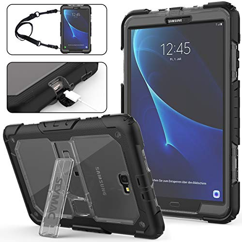 Galaxy Tab A 10.1 T580/T585/T587 Case (NOT for Other 10.1 inch Tablet), Full-Body Heavy Duty Shockproof Case with Stand & Shoulder Strap [Hybrid Armor Protection] for Samsung Tab A 10.1 (Gray+Black) (Samsung Tablet Military Case)