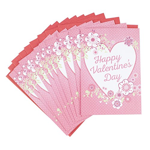 Hallmark Valentine's Day Greeting Cards (Pink with Heart and Flowers, 10 Cards and 10 Envelopes)