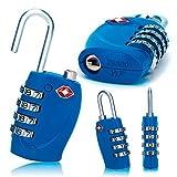 2 x TSA Security Padlock - 4-dial Combination Travel Suitcase Luggage Bag Code Lock (BLUE) - LIFETIME WARRANTY