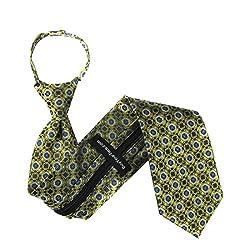 ZIP-11401 - Zipper Pattern Necktie - Yellow - Black