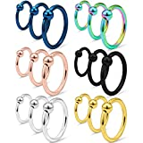 SCERRING 18PCS 16G Captive Bead Piercing Ring Stainless Steel Nose Septum Tragus Helix
