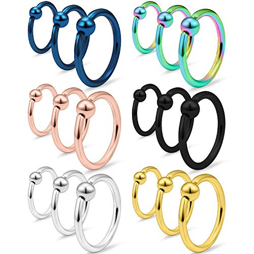 SCERRING 18PCS 16G Captive Bead Piercing Ring Stainless Steel Nose Septum Tragus Helix Nipple Lip Eyebrow Hoop Rings 8mm 10mm 12mm Mix Color ()