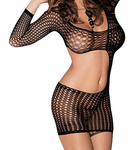 [TomYork Long Sleeve Slash Cut out Chemise Lingerie] (Witch Coustumes)