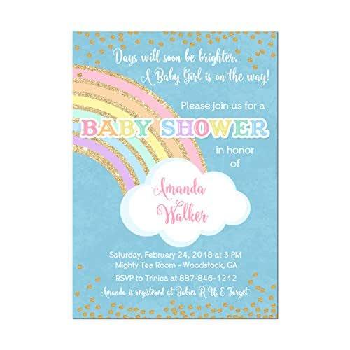 Amazon.com: Rainbow Baby Shower Invitations with Gold ...