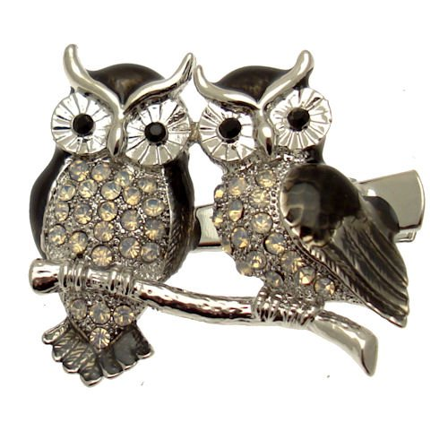 Acosta - Shadow Black Enamel & Crystal - Silver Colored Owl Hair Slide / Clip / Accessory - Gift Boxed