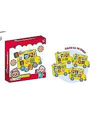 CoComelon Bus Bingo Game - CoComelon Puzzelspel voor kinderen van 18 maand+ - Kinderen en familie Bingo Bordspel Inclusief 4 Bingo Kaarten Bus Themed en 24 Passenger Cards
