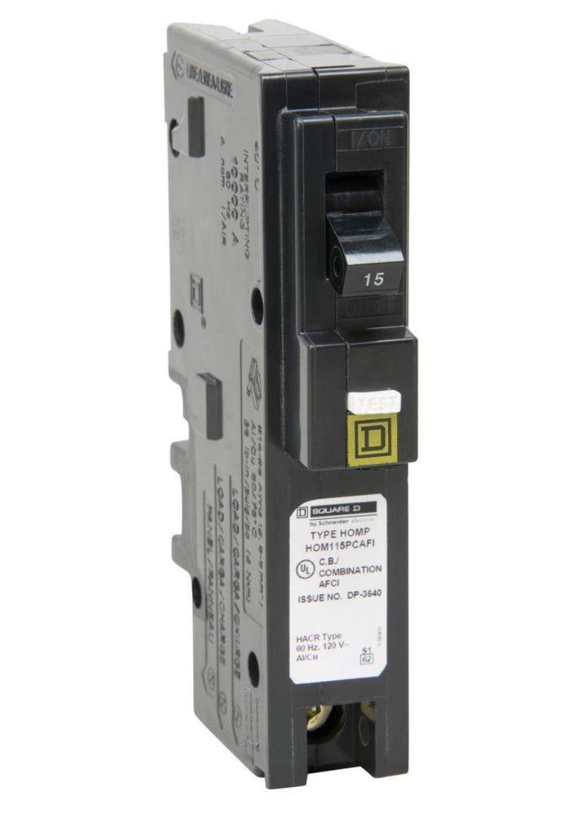 Homeline 15 Amp Single-Pole Plug-On Neutral CAFCI Circuit Breaker Square D HOM115PCAFI