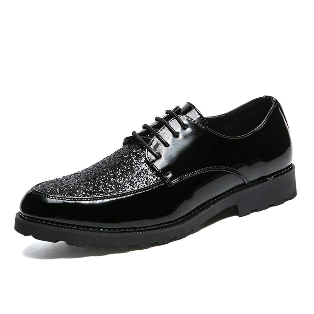 Elegdy Mens Fashion Oxford Casual Personality with Bright Leather Splicing Patent Leather