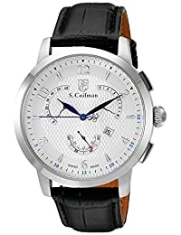 S.Coifman Men's Swiss Quartz Stainless Steel and Leather Automatic Watch, Black (Model: SC0228)